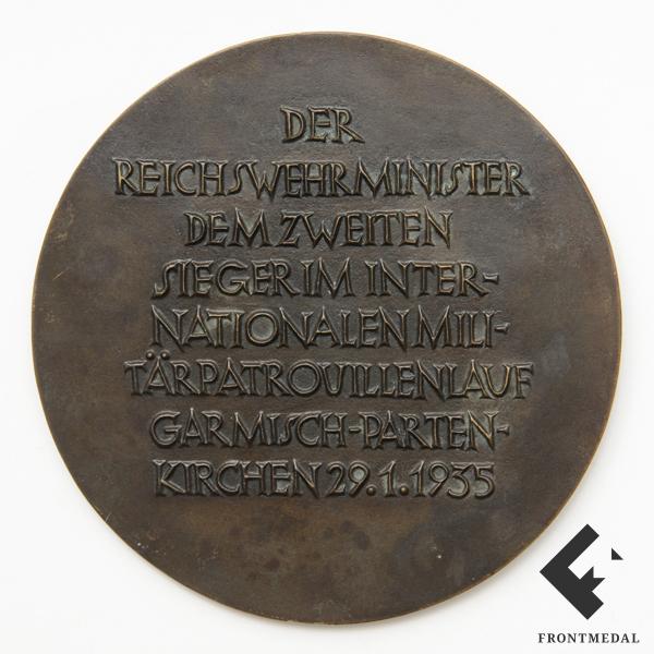 Настольная медаль победителю в лыжных соревнованиях 1935 года